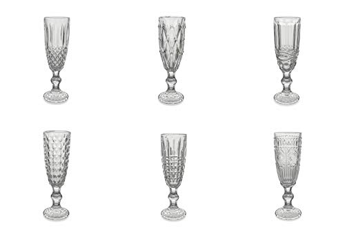 Villa D'Este Home Tivoli 5902634 Set 6 calici Champagne Vetro Geometric