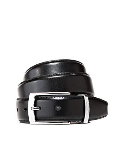 Vincenzo Boretti Herren-Gürtel mit silberfarbener Dornschließe, glänzendes Leder, Metalllogo, 35 mm Breite schwarz 95 cm