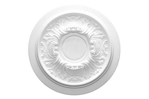Marbet Design - Roseta para techo (1 unidad, poliestireno, diámetro de 34 cm, R-14), color blanco