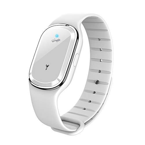 Bracelet anti-moustiques électronique à ultrasons pour enfants et adultes, blanc (batterie intégrée)