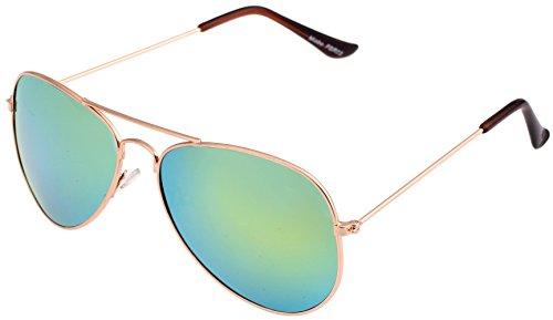 Unbekannt Pilotenbrille Sonnenbrille Fliegerbrille Pornobrille mit Federscharnier in verschiedenen Farbe (One size, Gold Gruen)