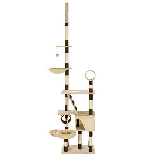 Montloxs Tiragraffi per Gatti con tiragraffi in sisal Essentials Albero da Arrampicata Piattaforme di osservazione del tiragraffi 246-280 cm Beige Marrone