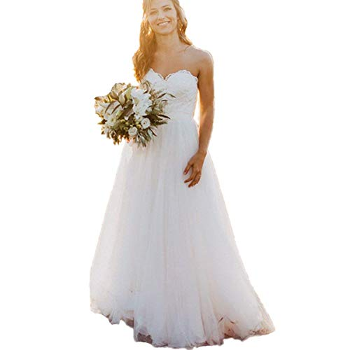 HDSLP Lace Strapless Wedding Dress Long Sweetheart Tulle Bridal Gown with Lace Up Ivory Custommade