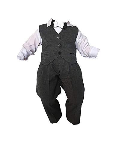 Unbekannt Taufanzug Baby Junge Kinder Kind Taufe Anzug Hochzeit Anzüge Festanzug, 4tlg, K13/3, Grau-Weiß, Gr.62