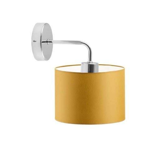 AURORA - Lámpara de pared con pantalla de lámpara, color amarillo mostaza, marco cromado