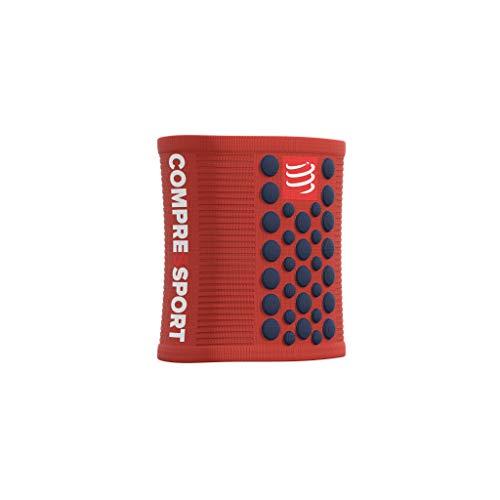 Compressport - Muñequera multideporte negra/roja - Sweatbands 3D.Dots - Muñequera antitranspiración - Propiedades ultra absorbentes - Fibras de secado rápido