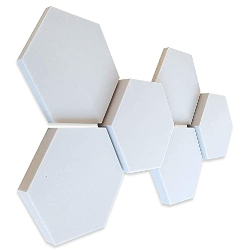 6 Schallabsorber 3D-Set aus Basotect  G+ Hexagon Akustik Elemente - platino24  - VOLLFLÄCHIG SELBSTKLEBEND - Qualitäts-Schallabsorber
