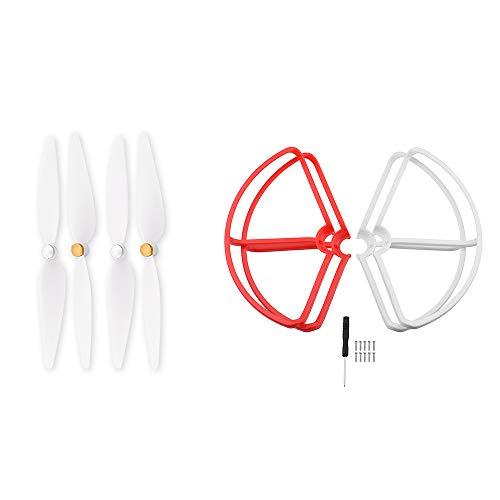 KINGDUO 4K Hélice y Protección de Hélice para Xiaomi Mi Drone 1080P/4K Versión-Rojo + Blanco