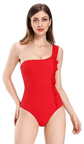 SHEKINI Costume da Bagno Monospalla da Donna Costumi da Bagno Intero a Costine Costumi da Bagno con Volant Monokini Senza Schienale Taglie Forti (Rosso, L)