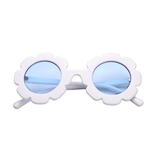Kids Round Flower Sunglasses Girls Cute Beach Glasses Retro Kid Anti-UV Beach Eyewear white Size: One Size