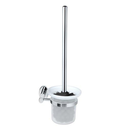 FACKELMANN Toilettenbürste mit Halter Taris, WC-Garnitur, WC-Bürste mit verchromter Wandhalterung (Farbe: Silber/Milchig), Menge: 1 Stück