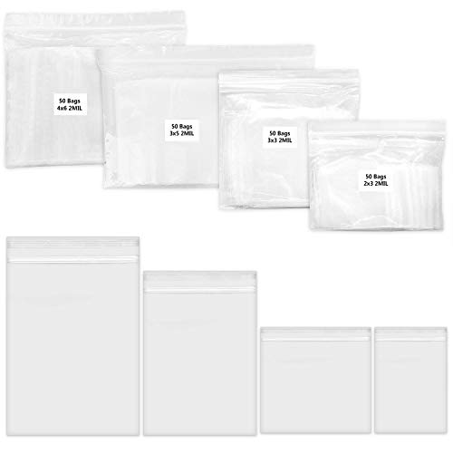 200 Pack 2 Mil Thick PP Bags for Jewelry, 4 Assorted Sizes, 2x3 3x3 3x5 4x6 Inch. 50 Counts Each Size, Clear Durable Food Grade Safe. Resealable Zipper Baggies for Jewelry, Bead, Toy Piece, Pill.