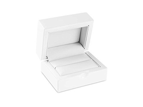 Luxury Solid Wooden Double Wedding Ring Boxes for 2 Rings High Polished White Colour Finish