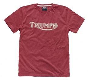 Camiseta roja genuina de Motorcycles vintage con logotipo Triumph