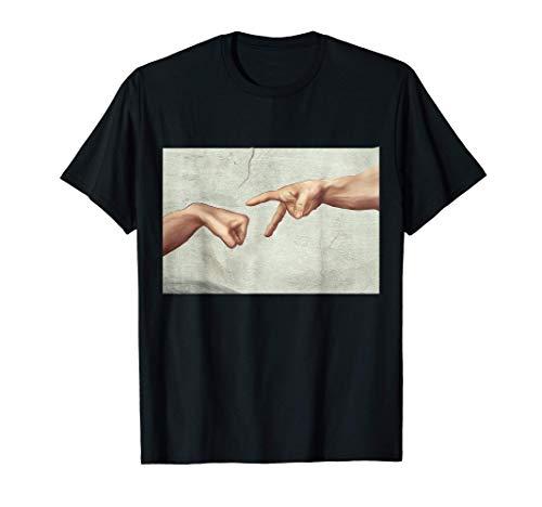 Erschaffung von Adam Schere Stein Papier Kunst Michelangelo T-Shirt