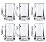 Pack de 6 Jarras para Cerveza - Vasos Jarra de Cristal Resistente tarro de 380ml