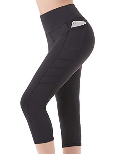Leggings Deporte 3/4 Yoga Pantalones Mallas de Cintura Alta con Bolsillos para Mujer Azul X-Large - Negra