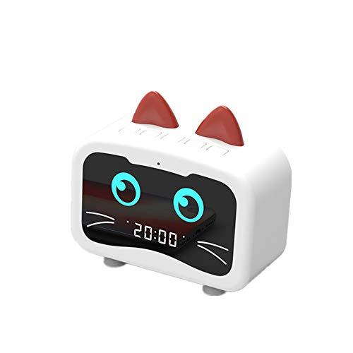 KEBY Lampe de Bureau Créatif Kitty Forme de Chevet Eclairage Multifonction Radio, Mini Veilleuse Sans Fil de Veilleuse Bluetooth pour Salon Chambre