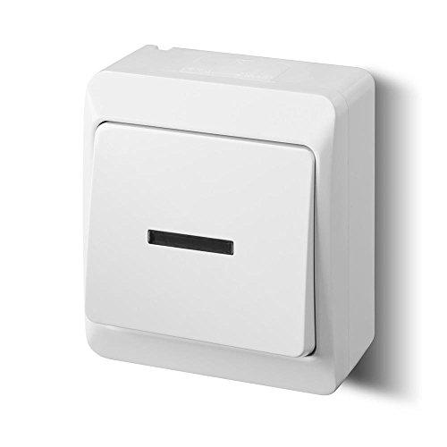 Aufputz einfach Lichtschalter Schalter 10 A IP44 Farbe weiß Beleuchtet HERMES