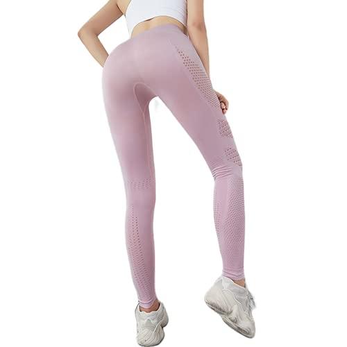 QTJY Pantalones de Yoga Huecos de compresión de Cintura Alta para Mujer, Pantalones de Yoga Transpirables y absorbentes de Sudor, Medias sin Costuras DL