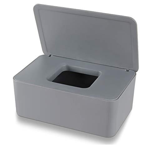 Aoligei Feuchttücher Box, Baby Feuchttücherbox, Baby Tücherbox, Box Feuchtes Toilettenpapier, Kosmetiktücher Box, Kunststoff Feuchttücher Spender mit Deckel für Zuhause und Büro(Grau)
