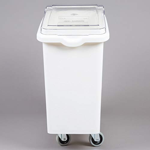 Best Deals! 21 Gallon / 335 Cup White Slant Top Mobile Ingredient Storage Bin with Sliding/Flip Lid ...