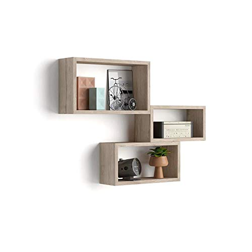 Mobili Fiver, Lot de 3 Cubes muraux rectangulaires, Giuditta, Chêne, Mélaminé, Made in Italy