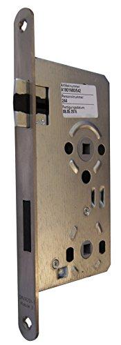 Alpertec 36053230 Einsteckschloß Objektschloß DIN RECHTS für Badtüren WC Edelstahl matt, Stulp 20 mm rund, Vierkant 8 mm, Abstand: 78 mm, Schlösser NEU