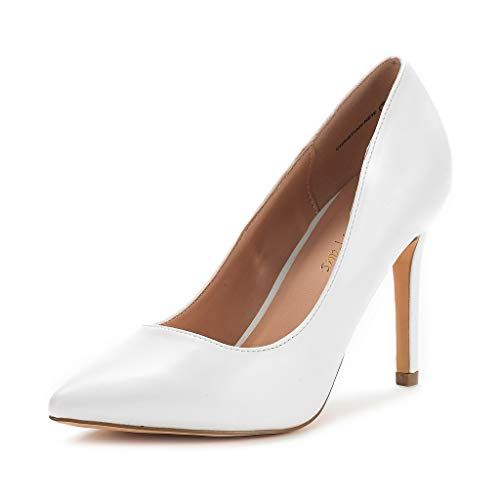 DREAM PAIRS Women's White Pu High Heel Pump Shoes - 8 M US