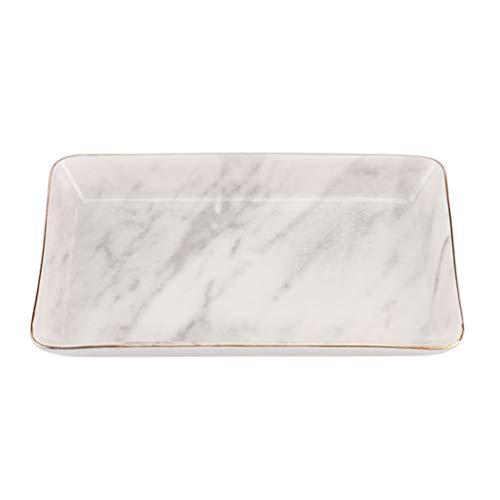 TOPBATHY Schmuckplatte Golden Edged Tablett Marmor Keramik Ring Dish Holder Schmuck Organizer für Zuhause L