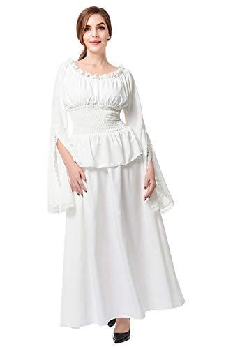 Haydory Vestido renacentista medieval para mujer, cuello barco, manga larga, blusa con volantes, estilo vintage, victoriano boho, cors