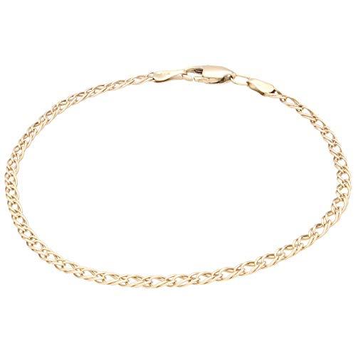 Jollys Jewellers Pulsera de oro amarillo de 9 quilates de 19,7 cm para mujer (3 mm de ancho)