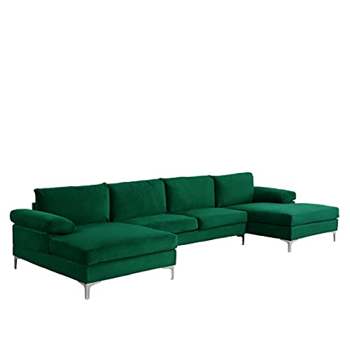 Casa AndreaMilano Modern Large Velvet Fabric U-Shape Sectional Sofa, Double Extra Wide Chaise Lounge Couch, Emerald