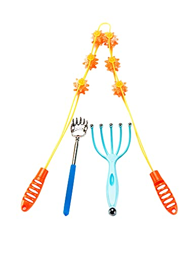Health 3 Piece Set Include Portable extendable Back Scratcher, Bear Claw Telescoping Backscratcher.Scalp Head Eyes Massager Massage,Shoulder Neck Back Massager ,Father's Day and Mother's Day Gifts