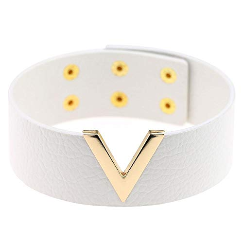 Eenvoudige Personality V Shape Leather Choker Ketting Punk Collar Clavicle Cortical korte ketting ZHQHYQHHX (Metal Color : White, Size : Free)