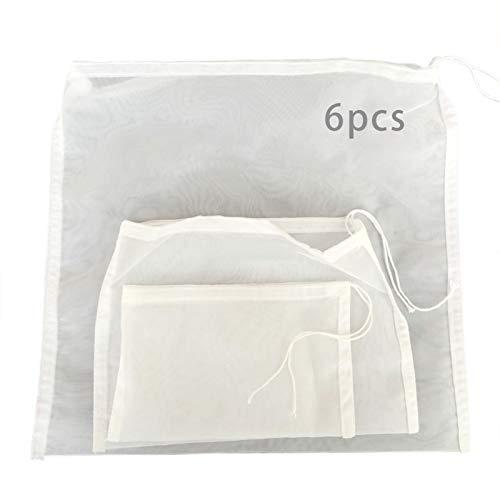 6 bolsas de leche de nuez, colador de alimentos reutilizable para leche de soja de almendras, yogur griego, malla de 200 pulgadas/pulgadas, filtro de yogurt