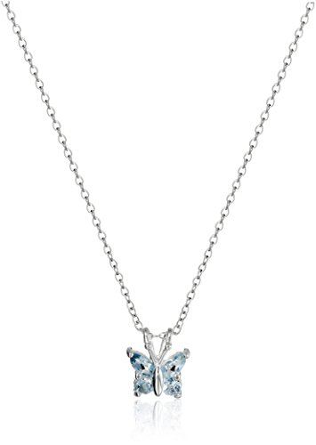 Sterling Silver Genuine Sky Blue Topaz Butterfly Pendant Necklace, 18'