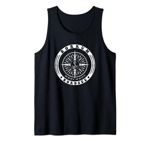Isla del Mar del Norte Borkum Anker Brjula Camiseta sin Mangas