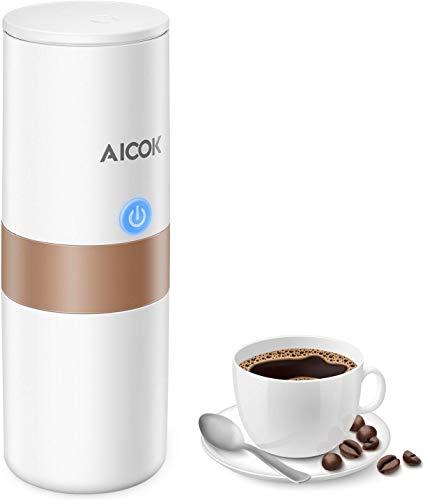 Aicok Cafetera Eléctrica Portátil Compatible con Cápsulas K-CUP y Café en Polvo, Cafetera de Viaje con Cargador de Pared y Cargador de Coche, Adecuado para Camping, Viajes, Oficina y Hogar