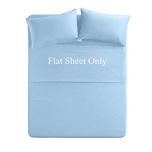 Queen Size Flat Sheet Single - 300 Thread Count 100% Egyptian Cotton Quality - Hotel Luxury Flat Sheet Sold Separately - Light Blue