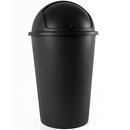 Deuba Mülleimer 50L Schwarz Abfalleimer mit Schiebedeckel Abnehmbar Müllbehälter Kunststoff Abwaschbar Küche Büro Robust