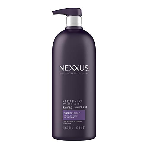 Nexxus Shampoo for Damaged Hair Keraphix with ProteinFusion Silicone-Free with Keratin Protein and Black Rice 33.8 oz