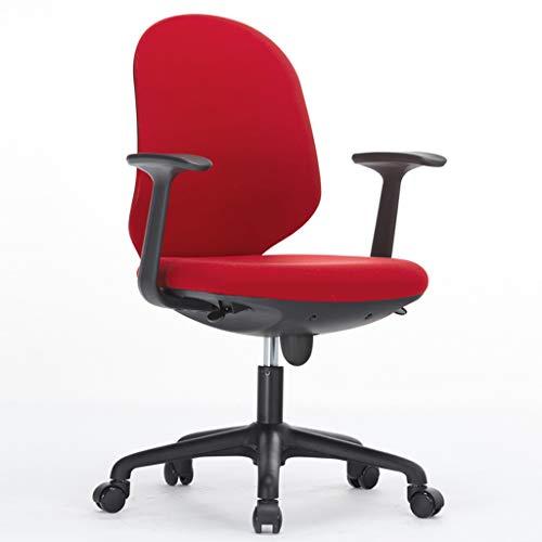 npcs Silla giratoria para videojuegos, para computadora, de malla, simple, silla de oficina, asiento elevable, silla giratoria, para estudiar, escritorio, silla ajustable (color: rojo)