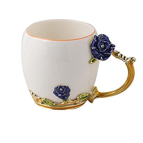 Haohaojia Large Coffee Mugs set,Coffee Mugs,Handmade Ceramic Coffee Cup with Delicate Spoon and Gift Box,Flower Tea Cup Tea Mug, Very suitable as a gift,Graduation cups, Bluerose