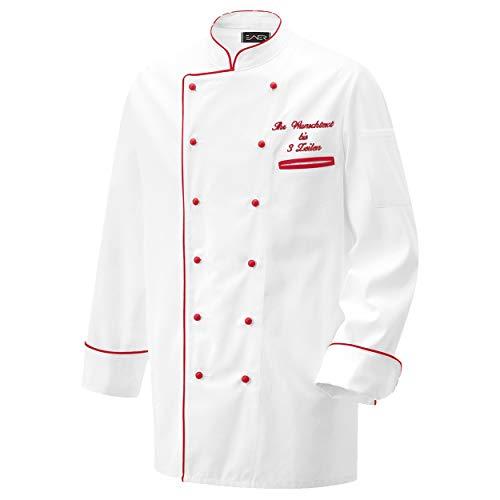 Nashville print factory Kochjacke Bäckerjacke Jacke weiß mit Farbiger Paspel inklusive Knöpfe mit Name/Text Bestickt (L, Paspel rot)