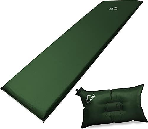 normani Selbstaufblasbare Luftmatratze inkl. Kissen zum Outdoor Camping Farbe Olive Größe 190 x 60 x 3 cm