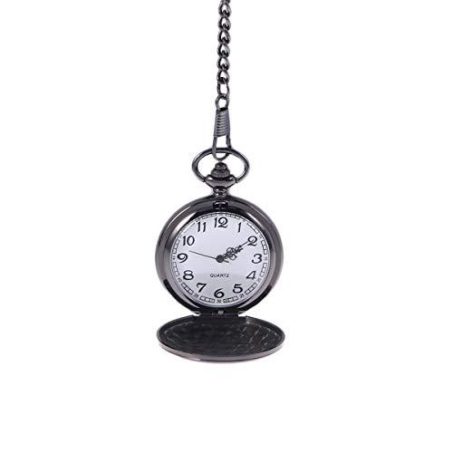 PIXNOR Mens vacío de acero inoxidable caso esfera blanca números árabes Reloj de bolsillo con catenascatola regalo