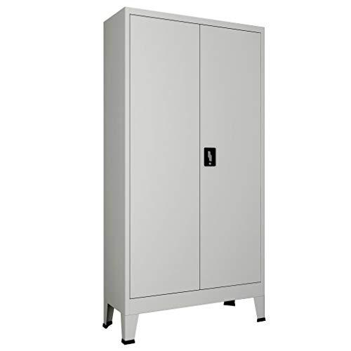 Kantoorkast met 2 deuren staal 90x40x180 cm grijs