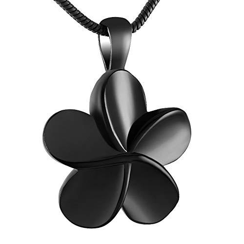 WANZIJING Asche Halskette Urne Anhänger, fünf Blütenblatt Blume Edelstahl Halskette Feuerbestattung Urne Anhänger Begräbnis Asche Inhaber,Schwarz