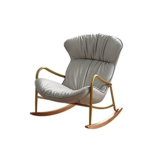 LUYIYI Silla Mecedora Sillón reclinable Estructura de cáscara Balcón Silla Trasera Cuero Multifuncional Sillón Silla Gris 91.5x76x69cm